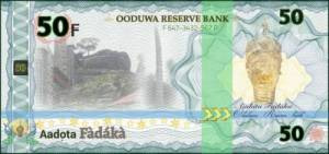 The people of Yoruba are celebrating the split banknote proposals of the Oodu Republic, distributed online