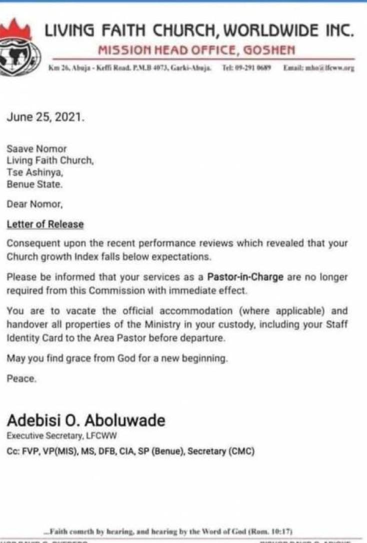 Bishop Oyedepo sacks 40 pastors for not making enough money for his church 1