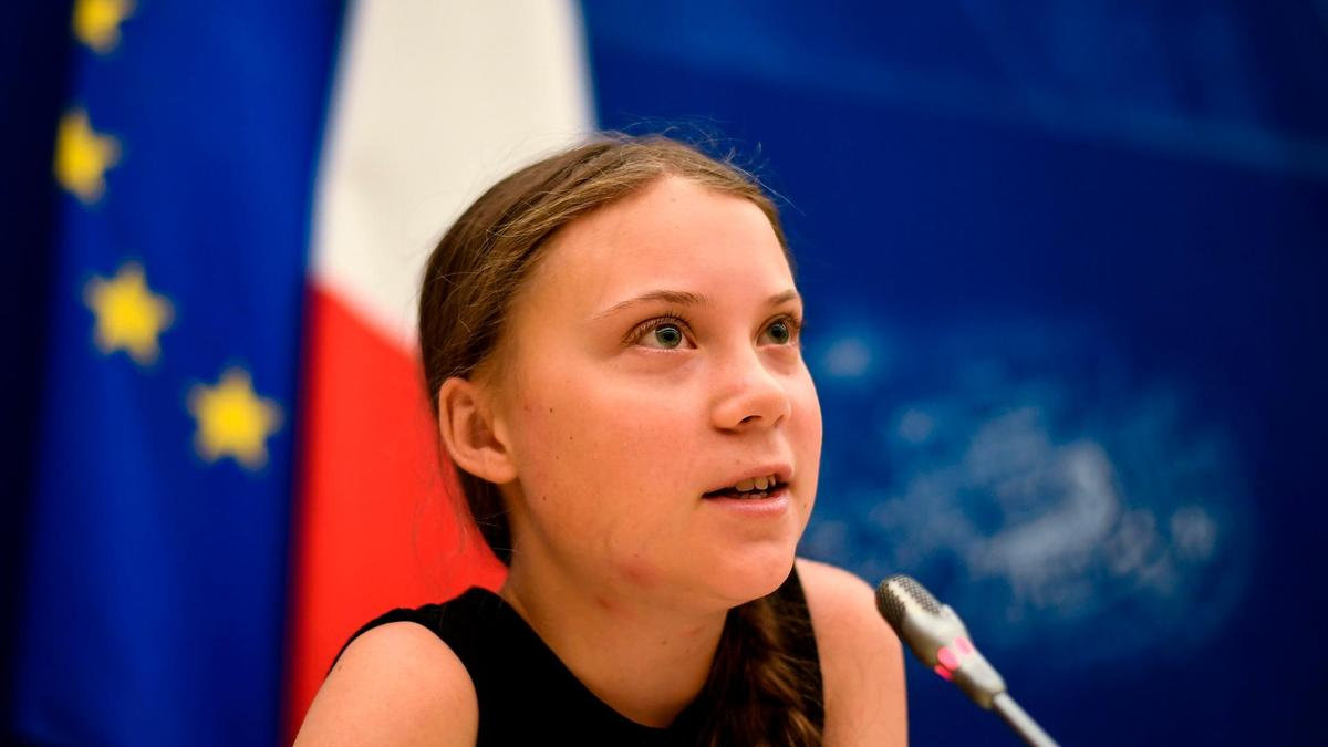 Swedish climate activist Greta Thunberg speaks during a meeting at the French National Assembly.