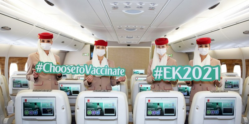 """Emirates' one-of-a-kind flight EK2021 proudly made a journey across the different emirates this week , to signal the aviation industry's readiness for a travel rebound. It was also to celebrate the UAE's remarkable vaccination programme that has administered close to 9 million vaccines doses to date. The special flight, which carried fully vaccinated crew and passengers onboard, was unprecedented in the industry in scale. With close to 400 fully vaccinated customers onboard, the flight illustrates confidence and undiminished excitement for air travel. EK2021 was also supported by fully vaccinated teams across the aviation eco-system, from onboard crew to ground staff, demonstrating the readiness of the UAE's aviation eco-system to support the safe rebound of air travel. In spite of the pandemic, the UAE has maintained its status as a leading global aviation hub and it will continue to grow its position as a hub for passengers and cargo traffic by investing in innovations and close collaborations with all stakeholders. Onboard EK2021 was a group of senior officials from key aviation and health sector entities hosted by Emirates. His Highness Sheikh Ahmed bin Saeed Al Maktoum, Chairman and Chief Executive, Emirates Airline & Group said: """"The UAE's rapid pace and progress in vaccinating our population is a testament of our leadership's vision and commitment to safeguard our communities, and manage the pandemic by adopting the appropriate measures to protect both nationals and residents. Today's flight is a showcase of the combined efforts and dedication of all stakeholders in supporting the vaccination programme, and the implementation of protocols in the past 12 months to ensure a safe travel journey, stimulate passenger traffic and set the groundwork for the ramp up of air travel in the near future. Emirates continues to support the national vaccination programme and we are pleased with the progress made within the group in vaccinating our employees."""" The special fli"""