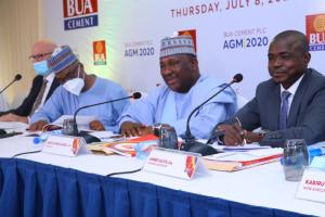 """…asBUA Chairman, Abdul Samad Rabiu, canvasses for new entrants, more investments, additionalcapacity in the Cement industryAbuja 08jul2021 - BUACement Plc, one of Africa's largest Cement companies, today held its AnnualGeneral Meeting for the period ended December 31, 2020, whilst paying dividendsof N70billion at N2.067k per ordinary share in a move that shareholdersapplauded. This is coming on the heels of a profitable year for the Cementproducer with a turnover of N204bn and declared Profits After Tax ofN72.3billion in the year under review.    Speaking at the AGM, Abdul Samad Rabiu, Chairman of BUACement, whilst addressing shareholders and the press, praised the efforts ofthe Yusuf Binji led management, staff, and customers of the company for ensuringthat BUA Cement remained the cement of choice for quality in Nigeria. In hiscomments on the increased demand for cement which had led to higher retailprices despite significantly lower ex-factory prices, Rabiu canvassed moreinvestments in the cement industry saying that current national productionlevels across were not enough to meet the ever-increasing national demand forcement which was increasing at a rate over 3million metric tonnes per annum. Hetherefore canvassed new investments in the cement sector and encouraged otherinvestors to develop new cement plants. It should be noted that BUA Cement isconstructing a 3million metric tonnes which is expected to come on Stream insokoto by the end of 2021 with new plants already in the works.In his comments, Yusuf Binji, Managing Director of BUACement Plc, said BUA Cement is committed to remaining a value–driven, orientedcompany that prioritizes excellence and product quality. He also added that thecompany was well-poised to sustain current profitability despite the verycompetitive landscape. According to Binji, """"Our value proposition, in terms ofproduct and service support offerings has positioned BUA Cement as a marketleader. In addition, we continue to prioritize innov"""