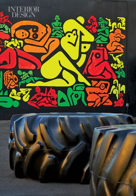 367094-A_Ryan_McGinness_mural_in_acrylic_and_DayGlo_paint_is_blacklit_at_night_in_the_park_Photography_Mark_Roskams_