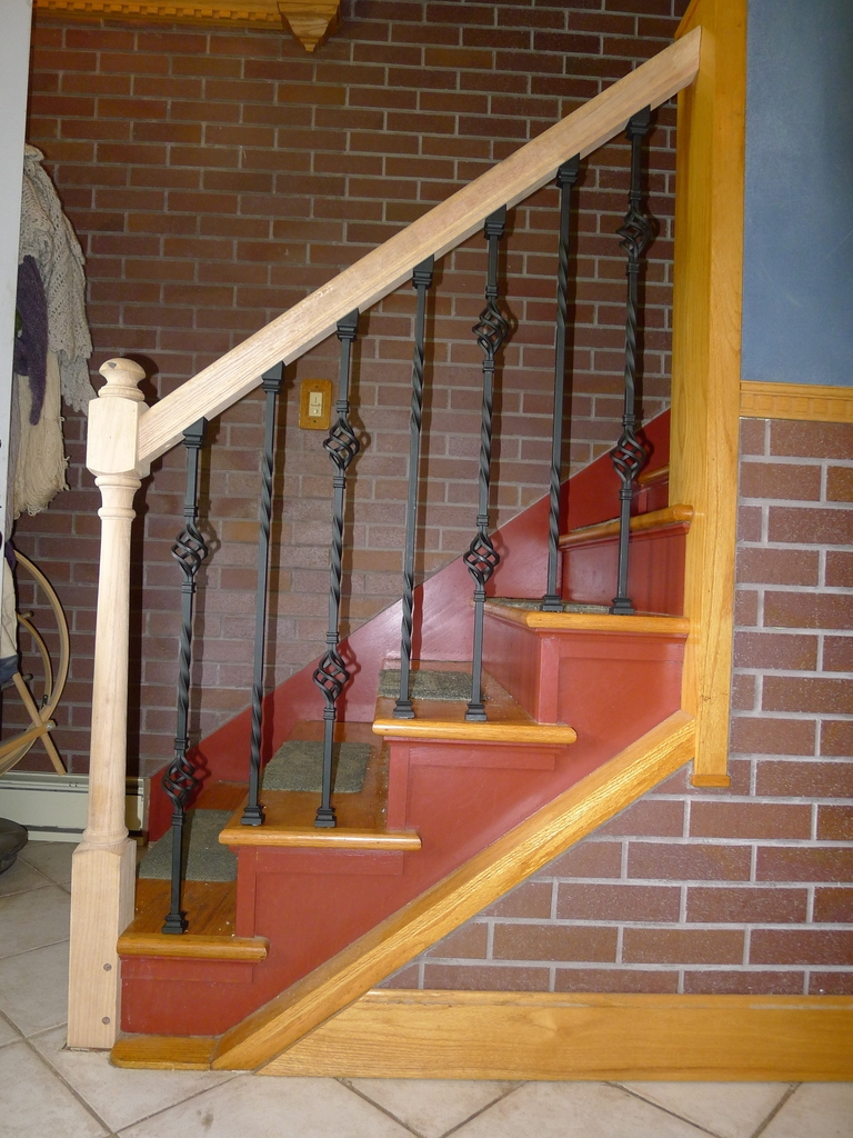 A Stay At Home Dad » Newel Post | Installing Newel Post And Spindles | Stair Treads | Stair Railings | Stair Banister | Box Newel | Staircase