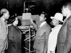 The Rev. Kelly Miller Smith, center, and members of the Cornerstone Committee of First Baptist Church and Capitol Hill, examines the cornerstone of the church's new sanctuary, under construction at 900 James Robertson Parkway Oct. 24, 1971. The new building will cost about $500,000. J.T. Phillips / The Tennessean