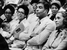 The Rev. Kelly Miller Smith, second from right, pastor at First Baptist Church, Capitol Hill, listens to the choir during services that commemorated his 25th anniversary at the Church March 21, 1976. Adena Wright, second from left, one of Smith's daughters and his wife, Alice Smith, right, joined him. Gerald Holly / The Tennessean