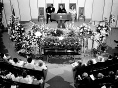 """Scores of floral tributes and hundreds of people attend a """"Memorial Celebration"""" June 6, 1984 at First Baptist Church, Capitol Hill, in honor of the late Rev. Dr. Kelly Miller Smith. Rev. Smith, 63, died June 3rd in Hubbard Hospital of cancer. Ricky Rogers / The Tennessean"""