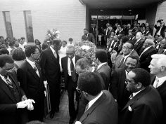 The casket of Rev. Kelly Miller Smith is leaving the First Baptist Church, Capitol Hill, June 7, 1984 after the service and heads for Greenwood Cemetery for burial. Coretta Scott King and John Lewis were at the services. Dan Loftin / The Tennessean