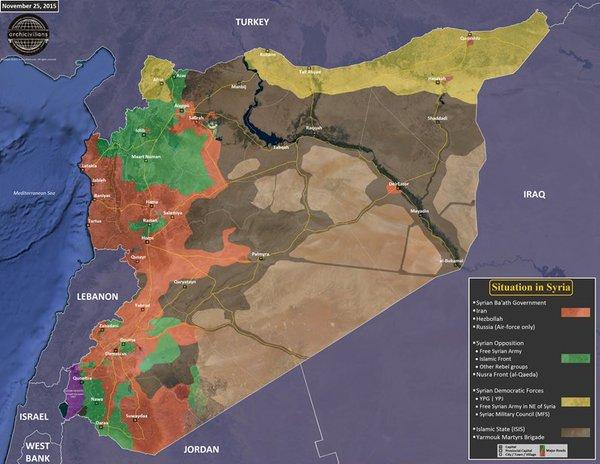 Kasım 2015 sonu itibarıyla güncel Suriye Haritası