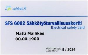 Mallikuva sähkötyöturvallisuuskortista SFS 6002-koulutuksesta.