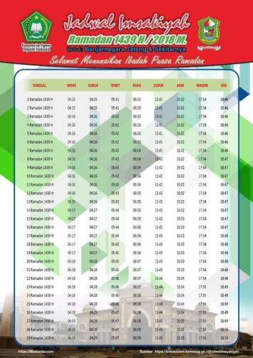 Jadwal Imsyakiyah Ramadan 2018 - Banjarnegara Jateng