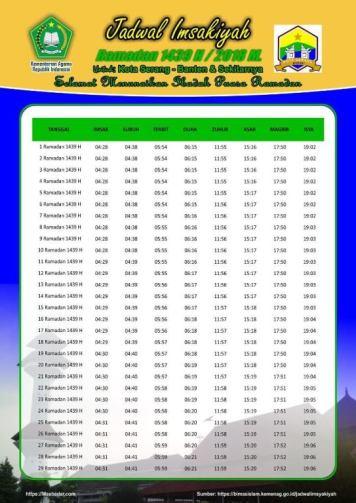 Jadwal Imsyakiyah Ramadan 2018 - Kota Serang Banten