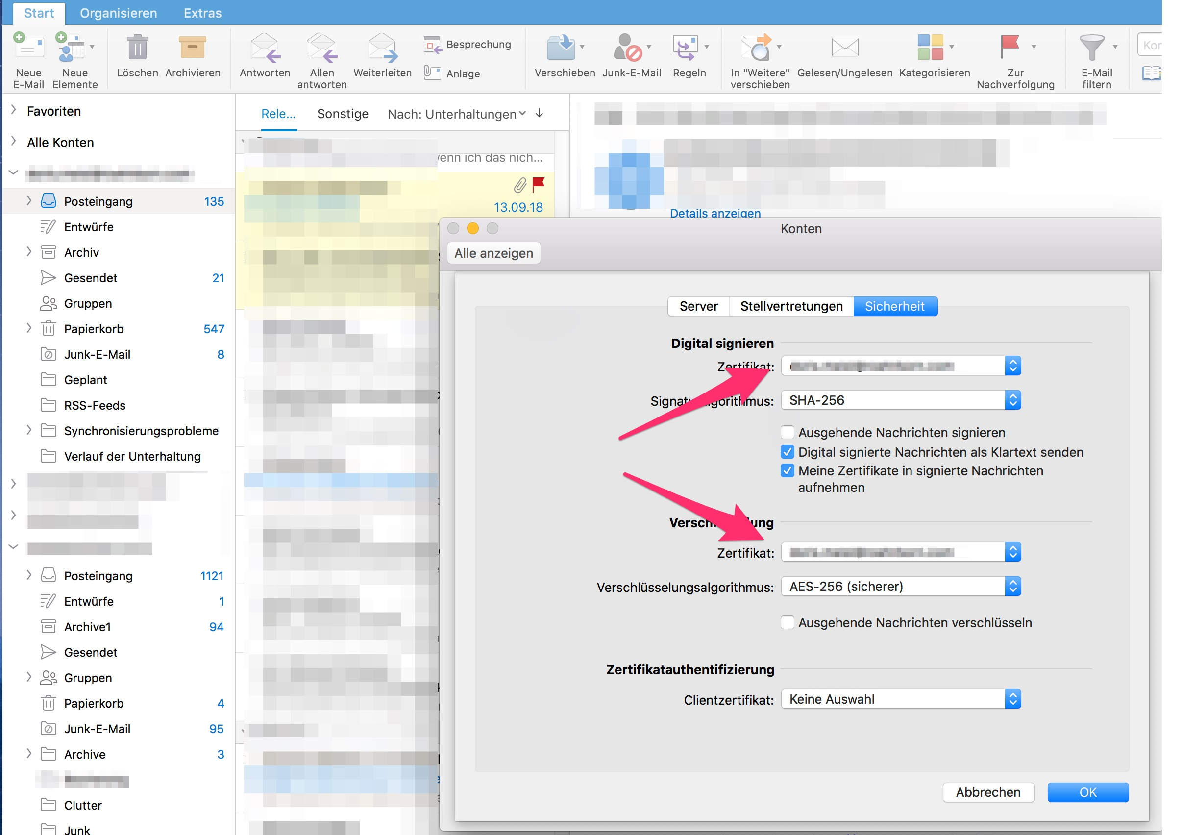 Outlook Mac Zertifikat aktivieren