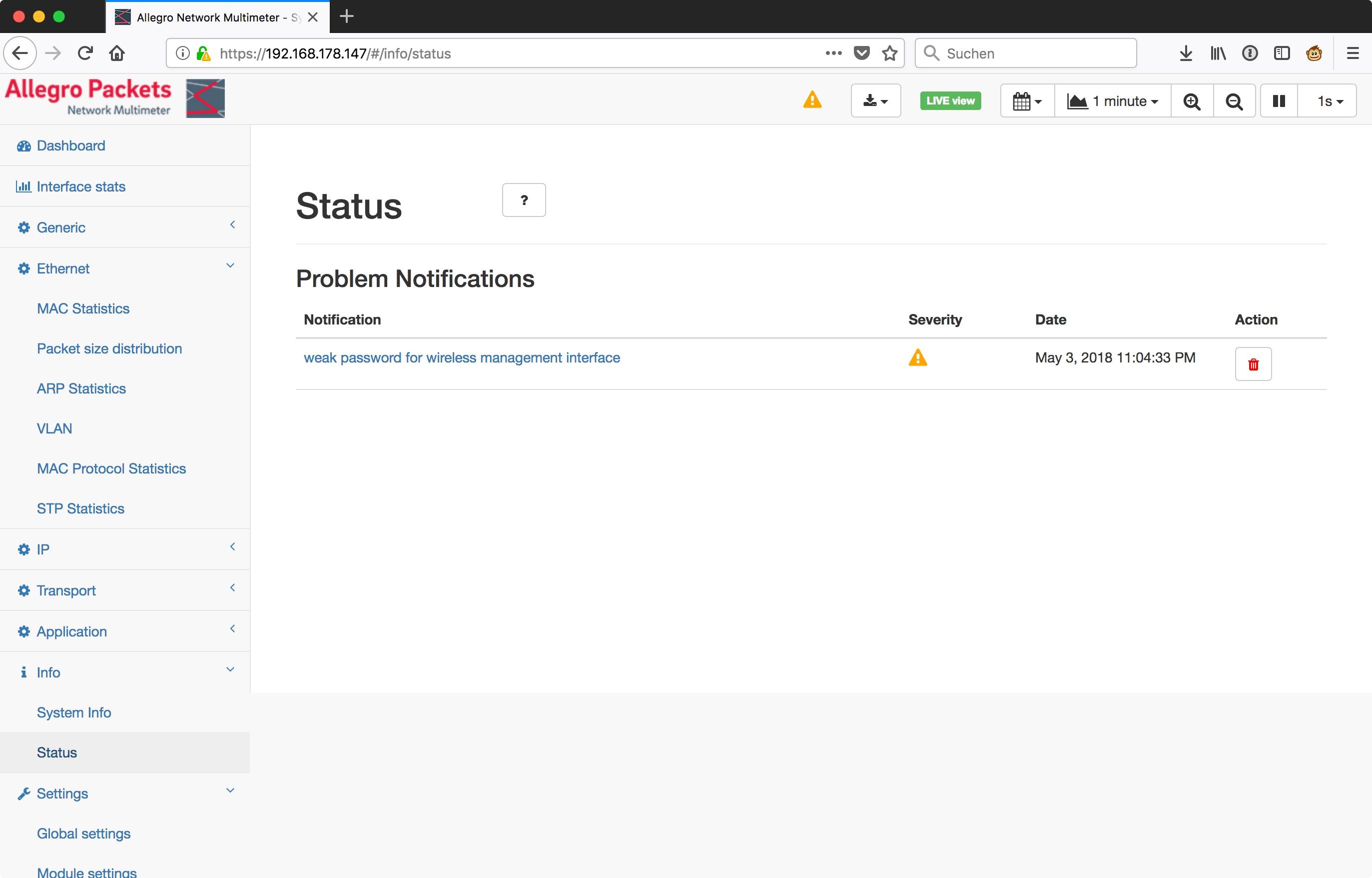 Allegro_Network_Multimeter_-_System_Status