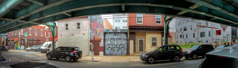 "Street Art in Context Pyramid Oracle mural Under the ""El"" 1305 N Front St Philadelphia, PA Copyright 2020, Bob Bruhin. All rights reserved."