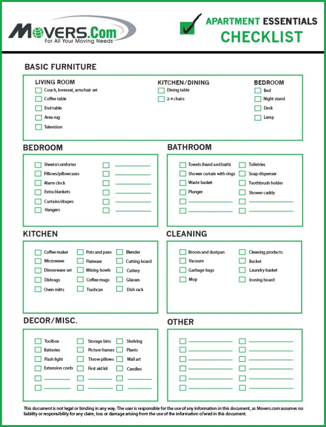 4 First Apartment Essentials Checklist For Ers