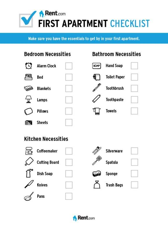 Your First Apartment Checklist Home Ideas Pinterest