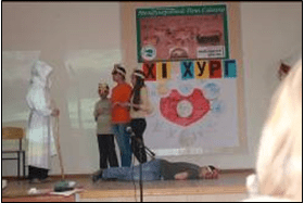 Children from Orel school compete in the theatrical performance competition
