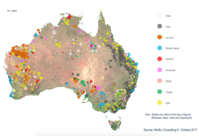 Location, size and type of mineral deposits in Australia