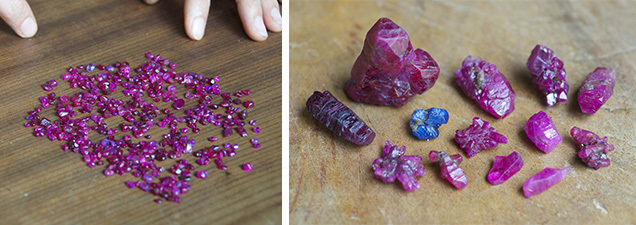Rough ruby and sapphire crystals from An Phu