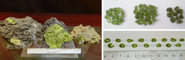 Vietnamese peridot nodules, rough stones, and faceted samples