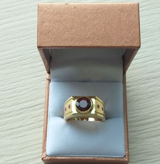 Design and make Garnet and Ruby gold ring for men