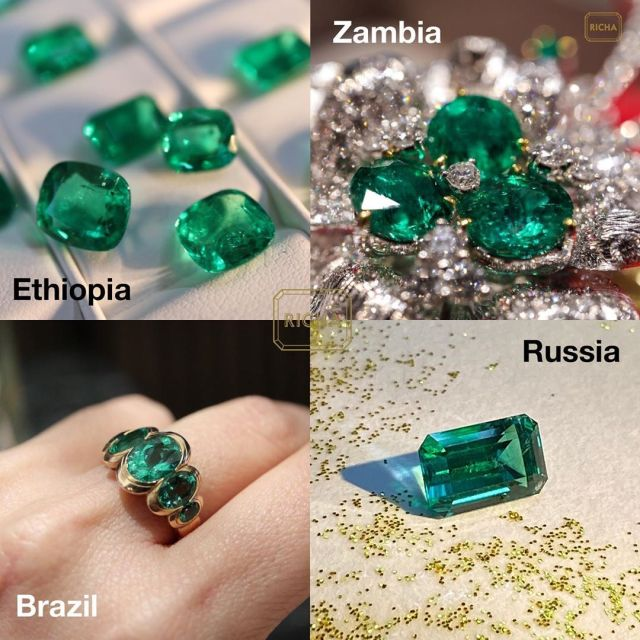 Top quality emeralds from 4 different origins: Brazil, Russia, Ethiopia, Zambia. @richagoyalsikri
