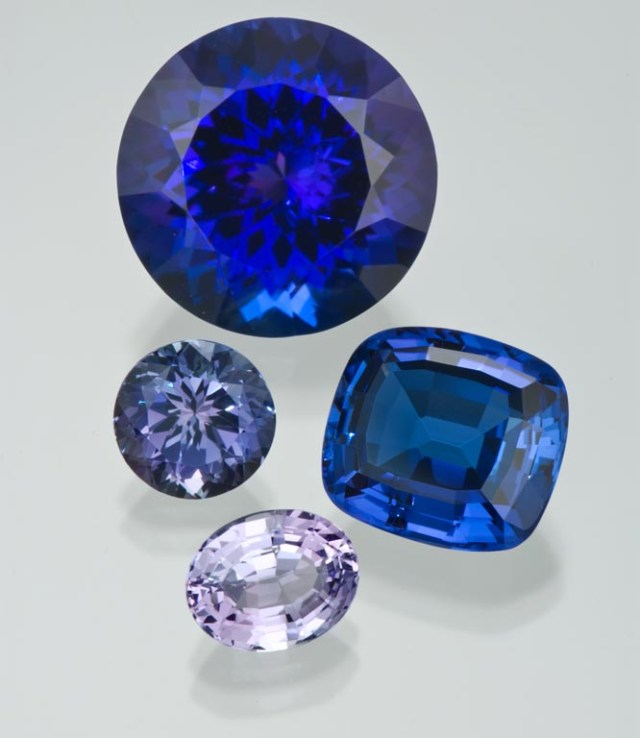 """These gems show tanzanite's color range, from an intense almost """"sapphire"""" blue violetish blue, to a light, almost lavender, color. GIA"""