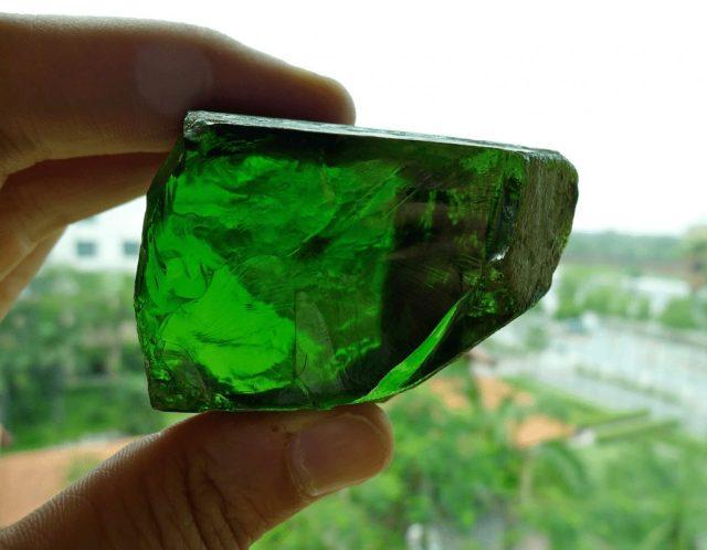 Burmese Peridot Crystal. Photo courtesy of Federico Barlocher
