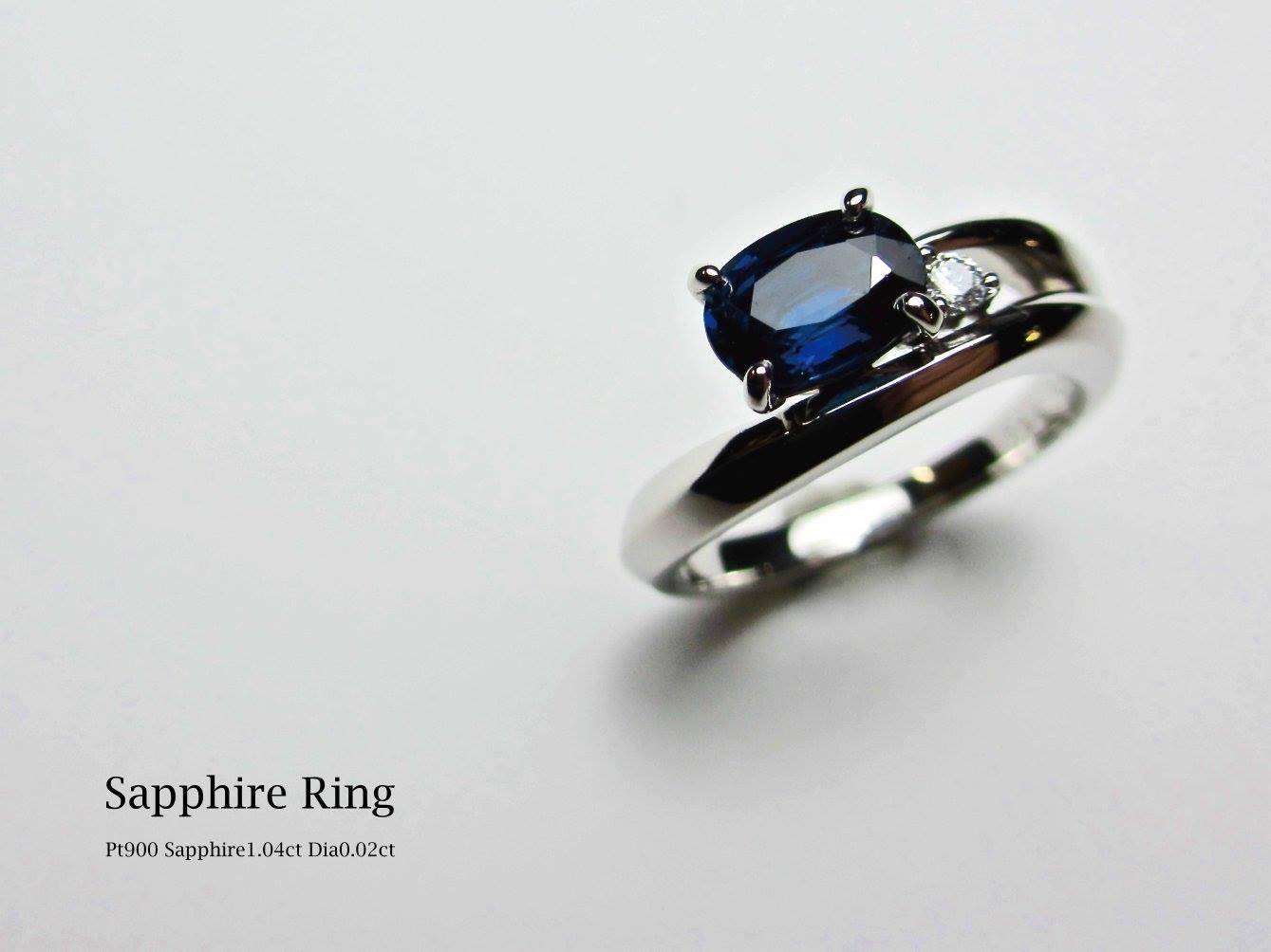 サファイア 婚約指輪 リフォームジュエリー リメイク リモデル 可愛い サプライズ 指輪 立て爪 プラチナ ダイヤモンド SAIJO 森拓郎