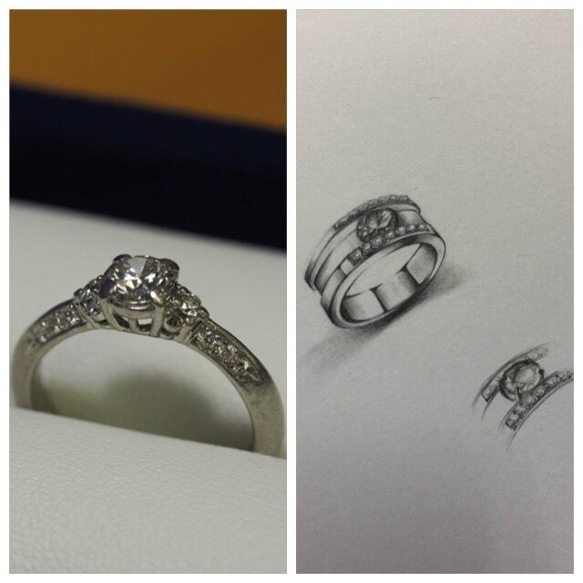 リフォームジュエリー リメイク リモデル 指輪 修理 立て爪 プラチナ ごつめ ダイヤモンド SAIJO 森拓郎
