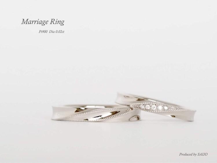 アンティーク ヴィンテージ マリッジリング 結婚指輪 ミルグレイン ダイヤモンド SAIJO 森拓郎