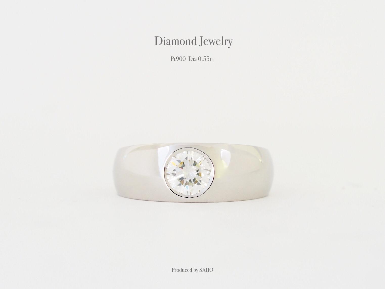 指輪 リング 甲丸 覆輪 リフォーム リメイク リモデルジュエリー ダイヤモンド シンプル SAIJO 森拓郎