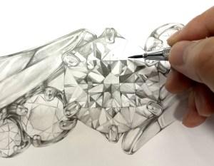 SAIJOのデザイナーが描いたブローチのデザイン画【プラチナ、ダイヤモンド、エメラルドルビー】|SAIJO|京都 宇治|オーダーメイドジュエリー
