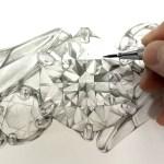 SAIJOのデザイナーが描いたブローチのデザイン画【プラチナ、ダイヤモンド、エメラルドルビー】