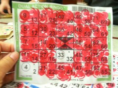 While the boys played baseball, the girls played (or tried to) bingo!
