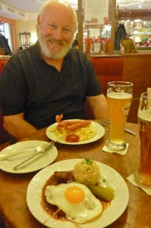 My goulash (again) and Marty's sausage and frites (again..ha)