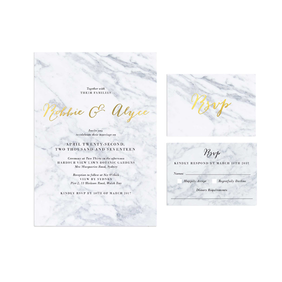 Gold Foil Marble Wedding Invitations By Sail And Swan