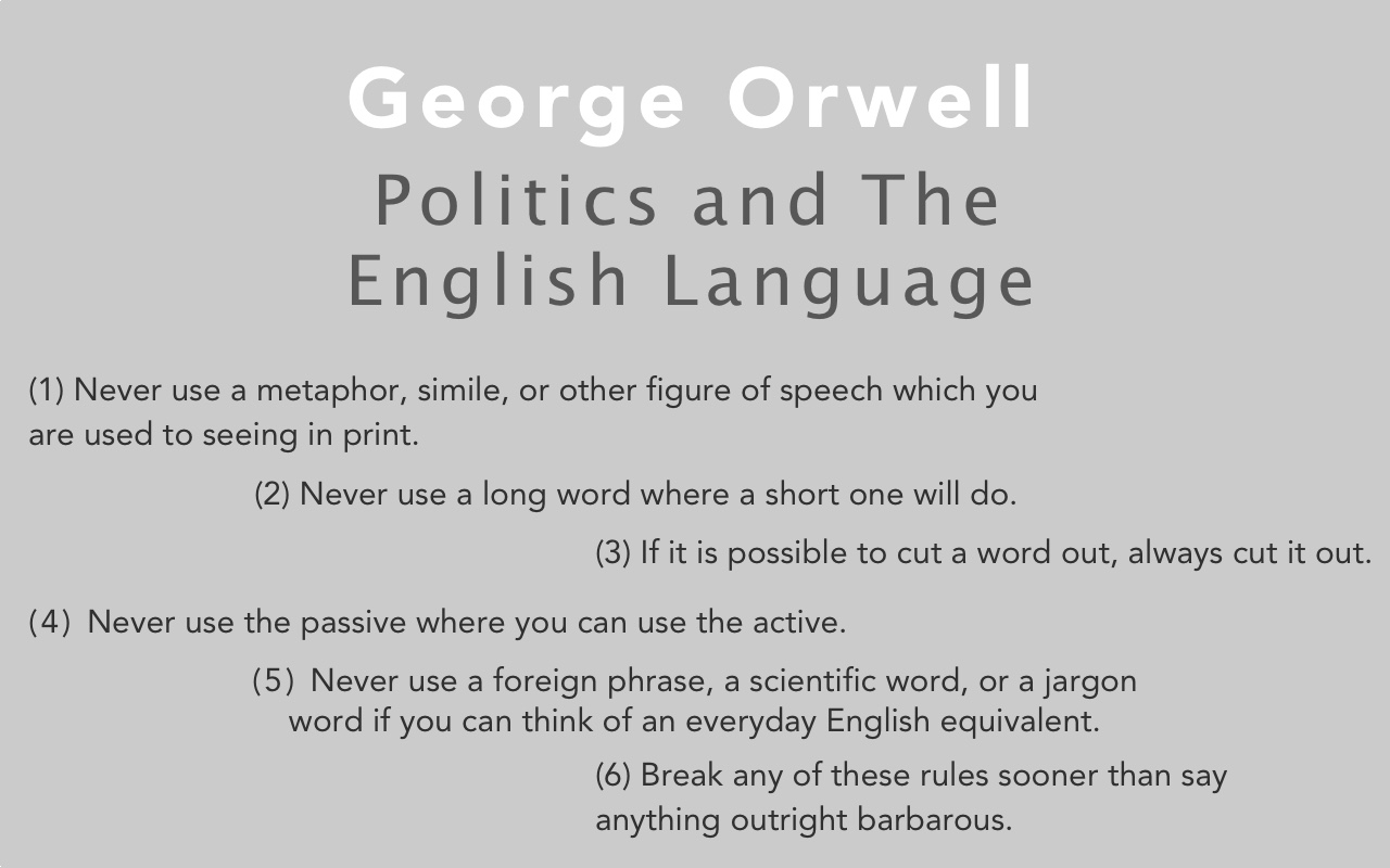 Exceptionnel Sail Magazine U003e Culture U003e Literature U003e Politics And The English Language:  An Essay By Orwell