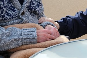 Close up of elderly couple's hands