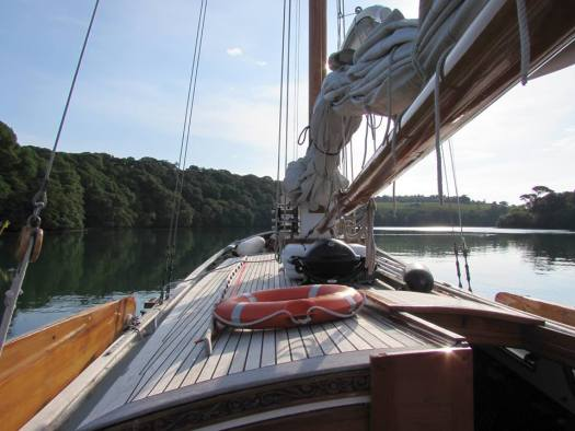 Sailing barge in the Helford River, Tremayne Quay.