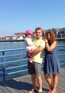 Our only family shot of the trip so far, along the Sheboygan River. Except who's that lady with the crazy hair?!