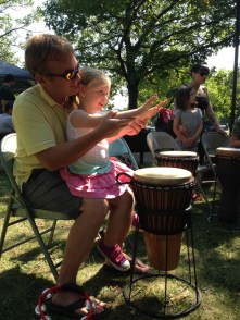 The farmers market was coupled with Sheboygan's Earthfest that Saturday. Claire loved the drum circle!