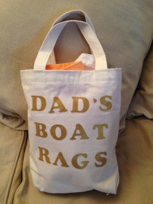 My Christmas gift for Aaron - a homemade sack of boat rags. A sailor can never have too many!