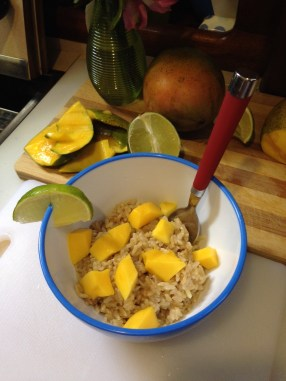 Pressure cooker success! Lime-coconut rice with fresh mango.