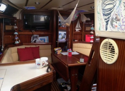 Main salon, view from the galley, with Claire's v-berth cabin and head just beyond