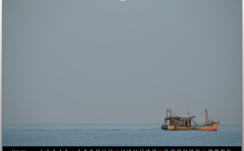 Fishing boats on the deep sea – Calendar for 2013