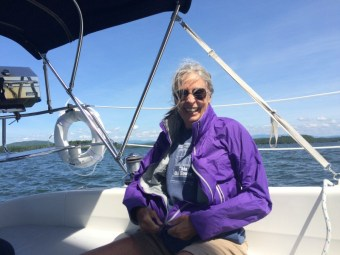 My mother aboard Errant, June 2015.