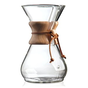 The Lovely Chemex beaker with hand-tied wood and leather handle