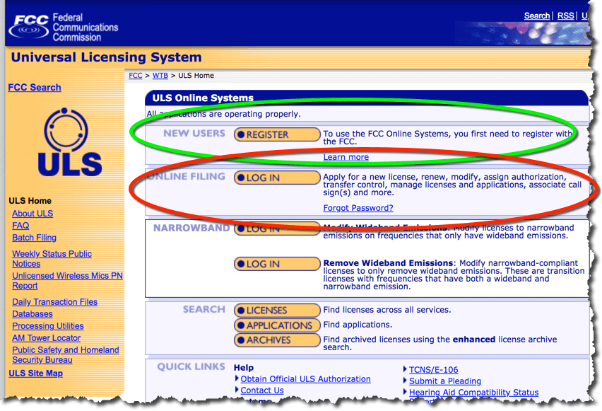 The FCC's Universal Licensing System home page. The first button is for registration and the second button is for logging in once you are registered.