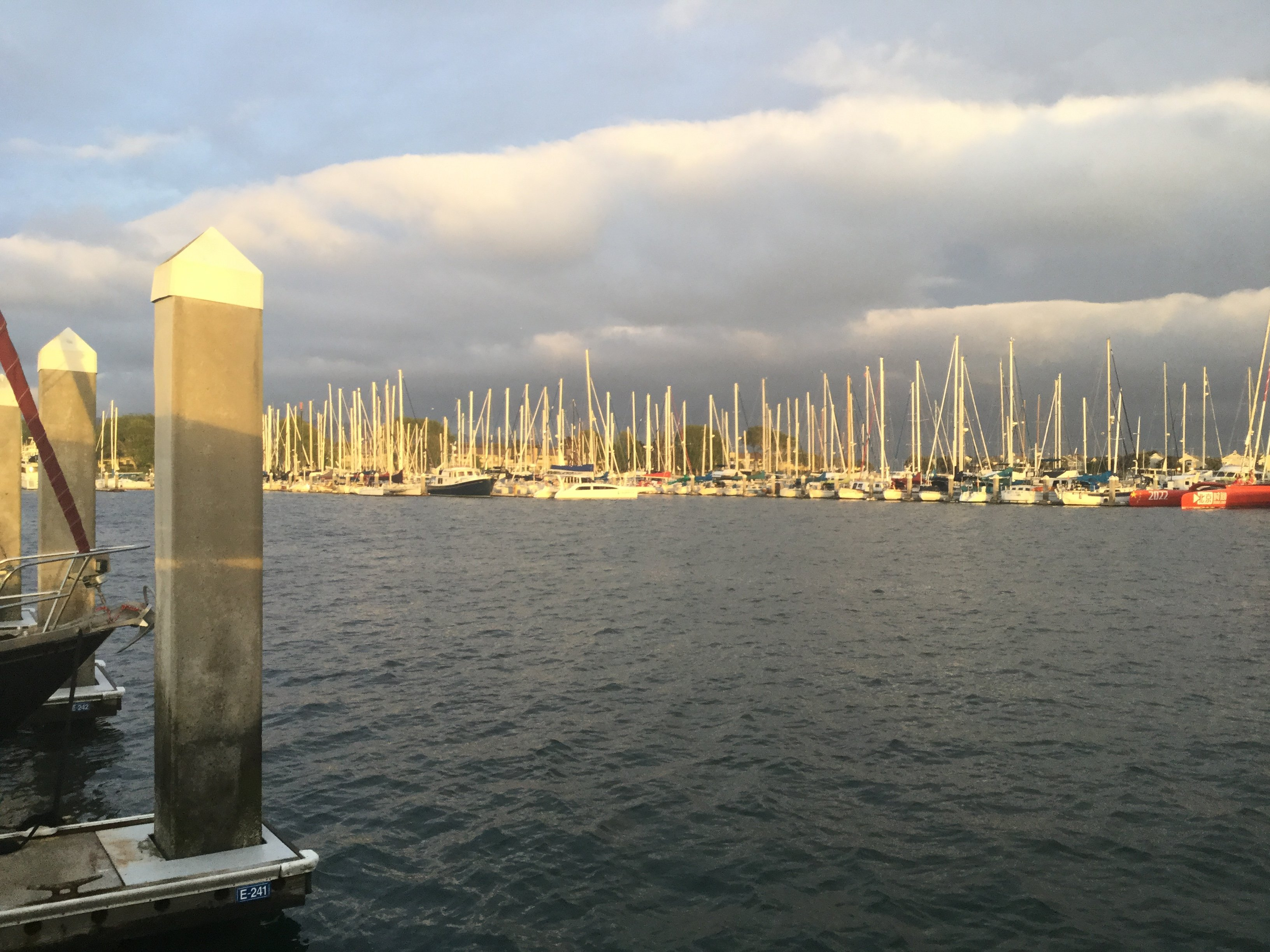 A view of the marina in East Bay California showing masts lit up in the sunset and brooding sky beyond.